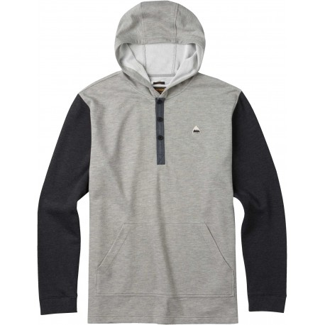 DEXTER HOODED HENLEY / MONUMENT HEATHER
